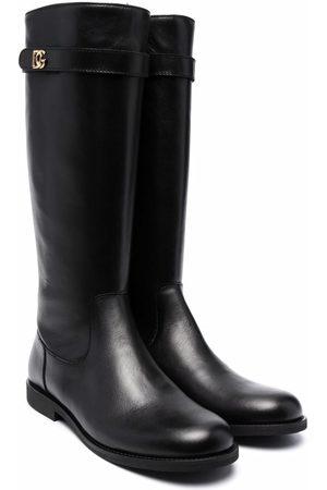 Dolce & Gabbana TEEN logo-plaque knee-length boots
