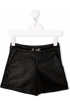 Abel & Lula Houndstooth belted-waist shorts