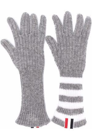 Thom Browne Jongens Handschoenen - RWB stripe-detail ribbed-knit cashmere gloves