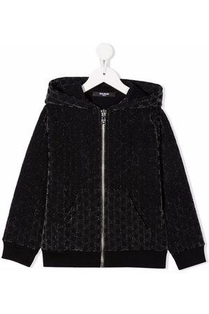 Balmain Kids Meisjes Bomberjacks - Monogram-pattern velvet-effect jacket