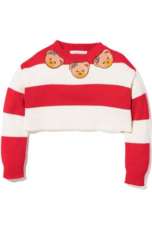 MONNALISA Stripe teddy bear jumper