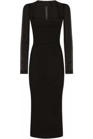 Dolce & Gabbana Dames Feestjurken - Sheer-sleeve mid-length dress