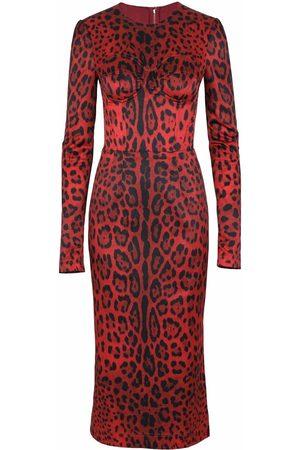 Dolce & Gabbana Dames Feestjurken - Leopard-print mid-length dress