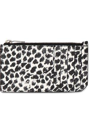 Saint Laurent Heren Portefeuilles - Leopard Print Leather Zip Card Holder