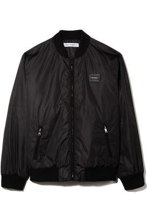 Dolce & Gabbana Logo-patch zip-up bomber jacket