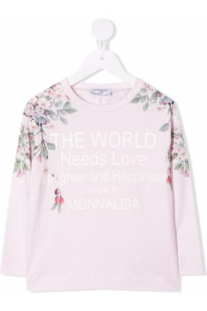 MONNALISA Long-sleeved slogan logo top