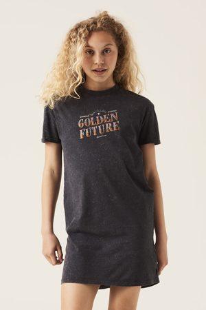 GARCIA Donkergrijs t-shirt jurk met tekstprint g12480 6912 girls grey