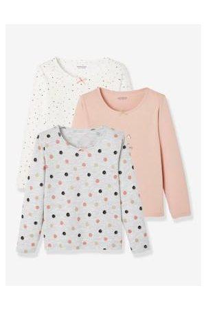 Vertbaudet Set van 3 T-shirts voor meisjes met lange mouwen Oeko-Tex® set gechineerd lichtgrijs
