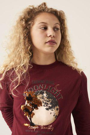 GARCIA Meisjes Lange mouw - Bordeauxrode longsleeve met opdruk i12402 2546 cabernet