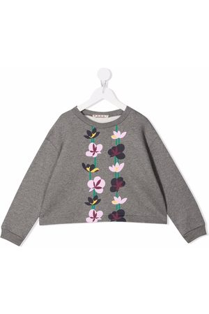 Marni Kids Meisjes Sweaters - Floral-print crew neck sweatshirt