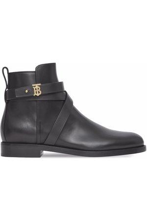Burberry Dames Enkellaarzen - Monogram Motif Leather Ankle Boots
