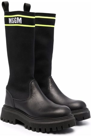 Msgm TEEN sock-style panel leather boots