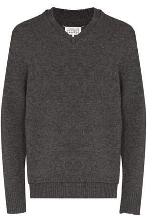 Maison Margiela Heren Sweaters - MM RIBBED WOOL VNECK SWTR GRY