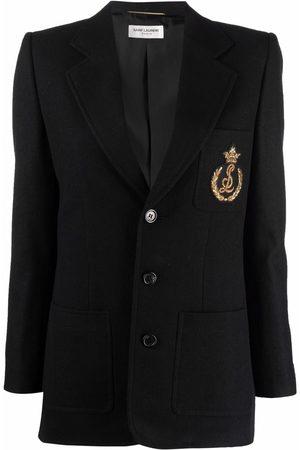 Saint Laurent Dames Blazers - Logo-embroidered single-breasted blazer