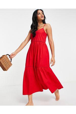 Accessorize Dames Casual jurken - Tierred maxi poplin dress in red