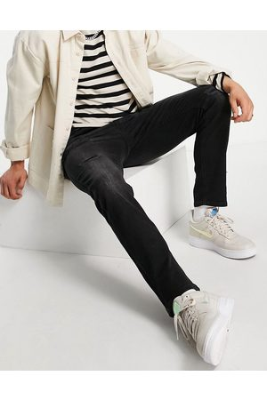 JACK & JONES Intelligence Tim slim straight leg jeans with abrasions in black