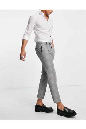 jack & jones Pakken - Premium relaxed fit suit trousers in heritage check-Black