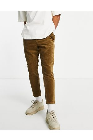 Only & Sons Corduroy trousers with drawstring in tan-Brown