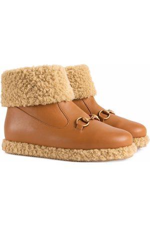 Gucci Kids Horsebit-detail shearling-trim boots