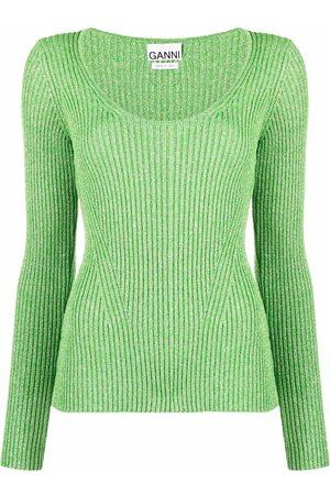 Ganni Glitter-detail rib-knit top