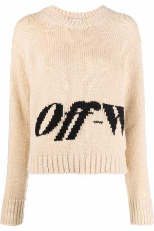 OFF-WHITE Intarsia logo crew-neck jumper