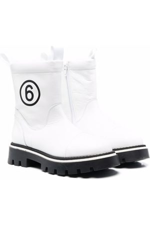 MM6 KIDS TEEN logo-print ankle boots