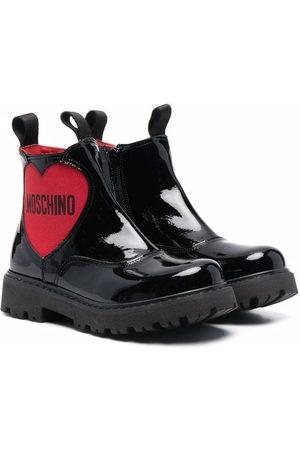 Moschino Enkellaarzen - Logo-heart leather boots