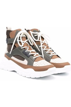 Emporio Armani Panelled high-top chunky leather sneakers
