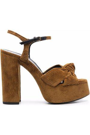 Saint Laurent Dames Sandalen - Corduroy knot-detail sandals