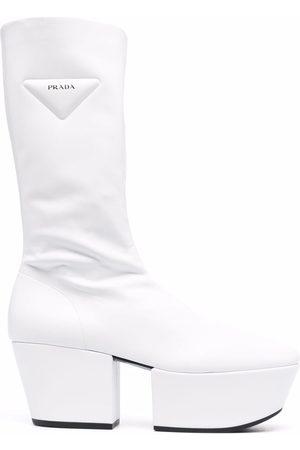 Prada Dames Laarzen - Triangle-logo platform boots
