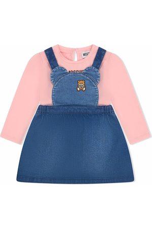 Moschino Logo-patch denim pinafore dress set