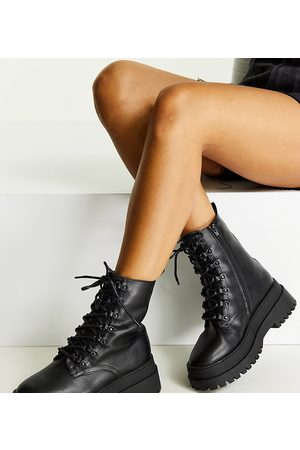 London Rebel Wide fit lace up chunky boots in black