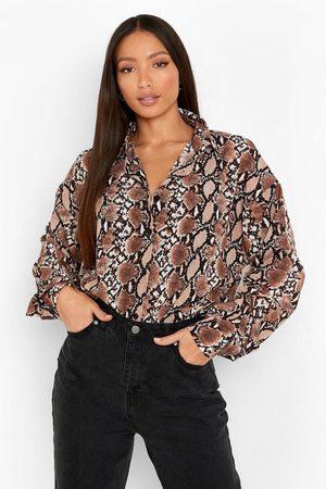 boohoo Tall Slangenprint Overhemd, Stone