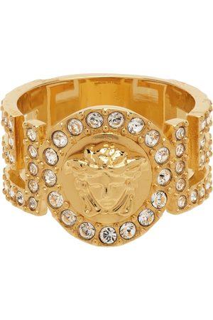 Versace Heren Ringen - Gold Crystal Icon Medusa Ring