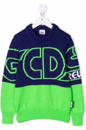 GCDS Jongens Truien - Two-tone logo-print jumper