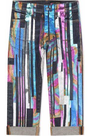 Dolce & Gabbana Kids Meisjes Straight - Painted straight leg jeans