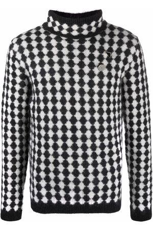 Saint Laurent Diamond-motif turtleneck jumper