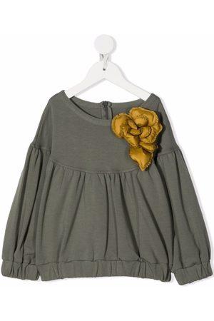 Il gufo Flower-applique blouse