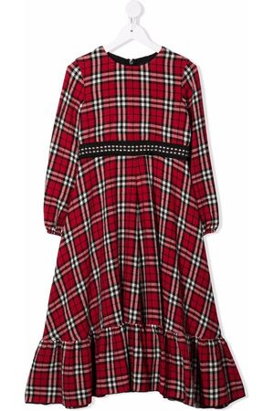 Monnalisa Studded checked maxi dress