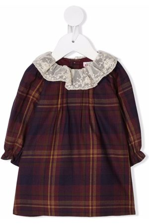 Bonpoint Check long-sleeve dress