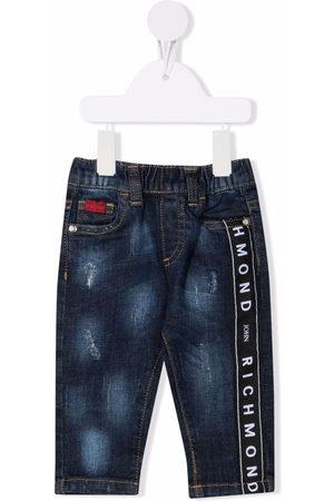 John Richmond Junior Logo-tape distressed-finish jeans