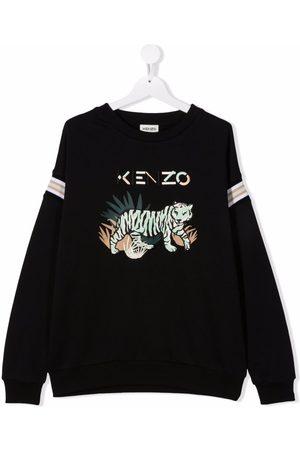 Kenzo Kids Sweaters - Embroidered tiger logo sweatshirt