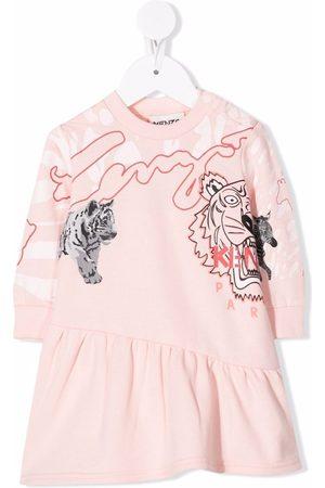 Kenzo Kids Tiger-print asymmetric-hem dress