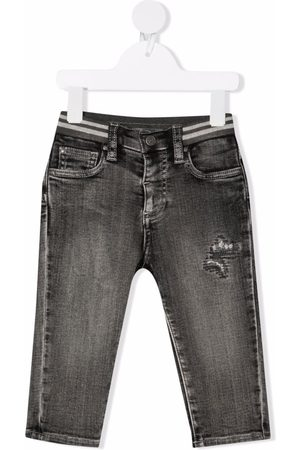 MONNALISA Jongens Straight - Distressed-effect straight leg jeans