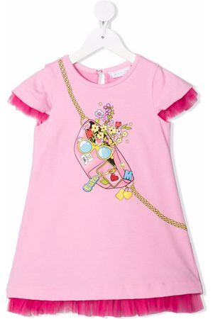 Monnalisa Ribbed belt-bag T-shirt dress