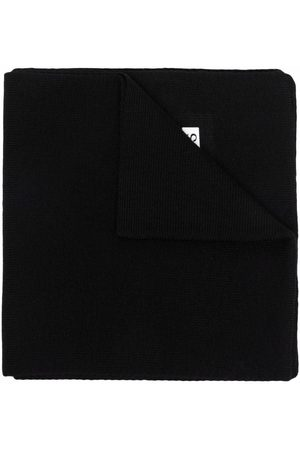 HUGO BOSS Logo-patch knitted scarf