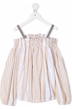 Brunello Cucinelli Kids Off-the-shoulder striped poplin top