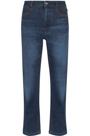 Chloé Logo-print high-waisted cropped jeans