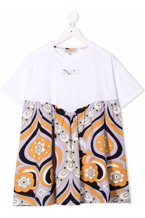 Emilio Pucci Junior Floral-print colour block dress