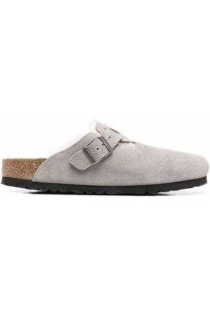 Birkenstock Boston fur-lined buckle sandals